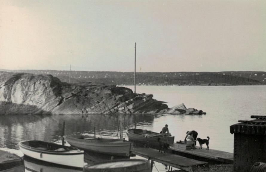 Lystbåthavnen på Husbergøya. I bakgrunnen: Kalven (Husberg-Kalven)